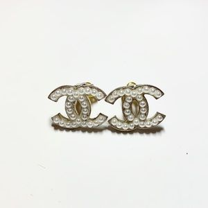 Vintage Silver Clip On Pearl Studded CC Coco Logo